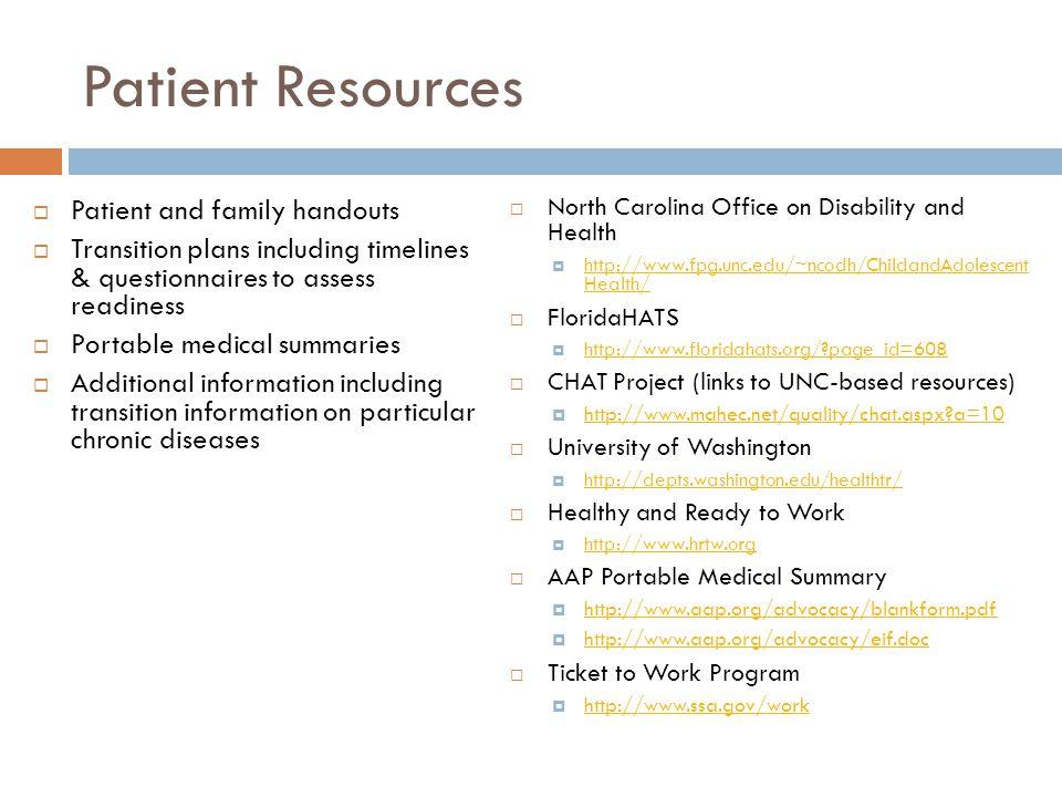Patient Resources Patient and family handouts