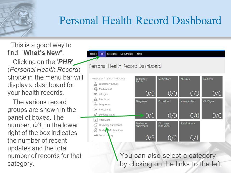 Personal Health Record Dashboard