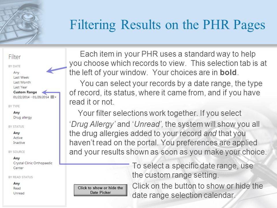 Filtering Results on the PHR Pages