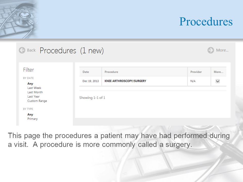 Procedures This page the procedures a patient may have had performed during a visit.