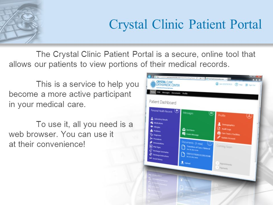 Crystal Clinic Patient Portal
