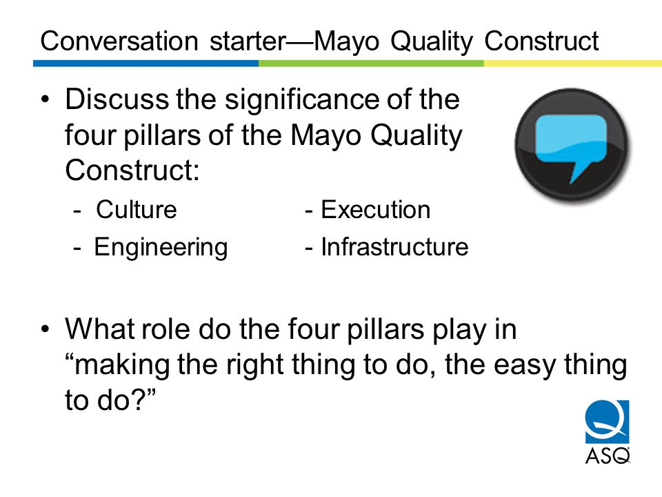 Conversation starter—Mayo Quality Construct