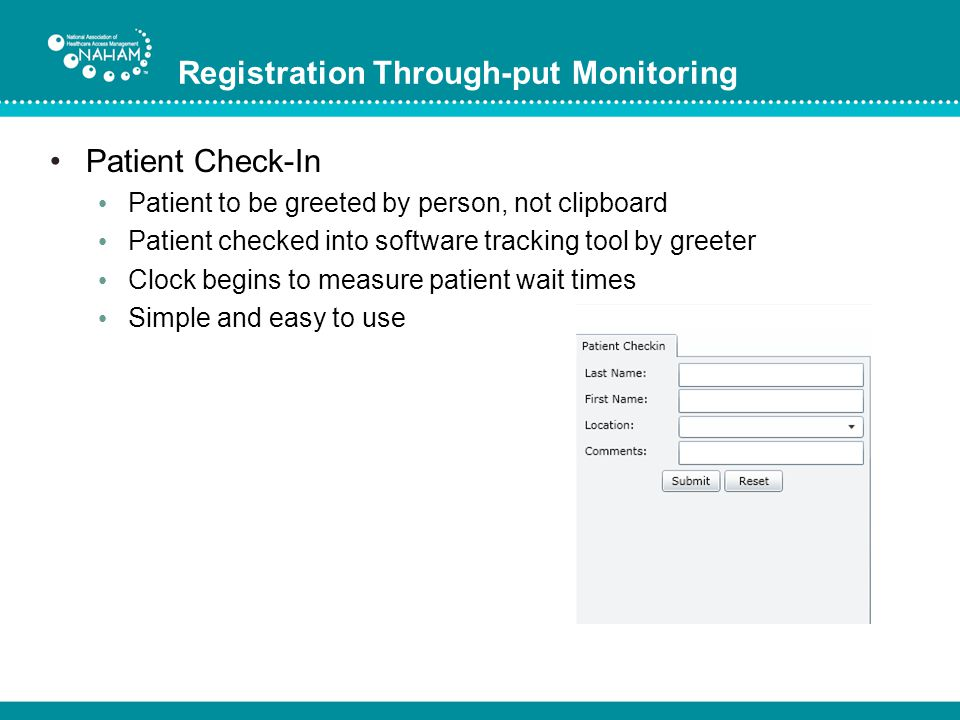 Registration Through-put Monitoring