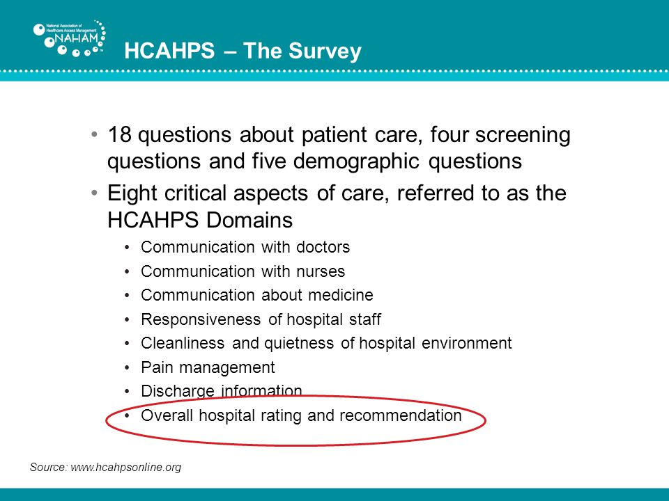 Eight critical aspects of care, referred to as the HCAHPS Domains
