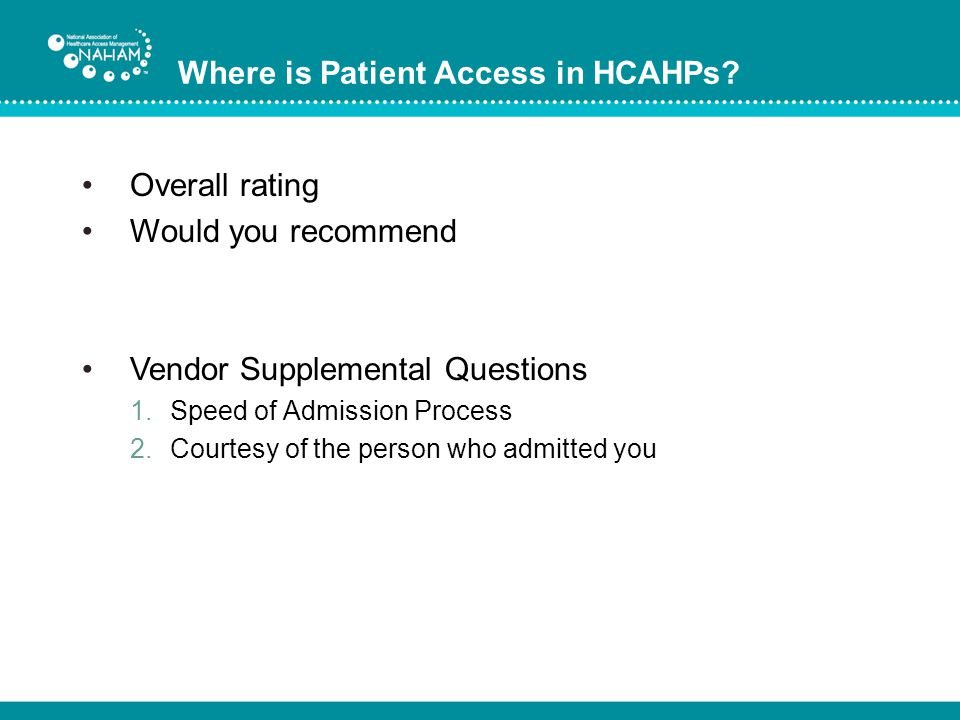 Where is Patient Access in HCAHPs