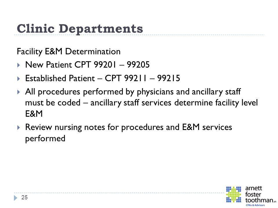 Clinic Departments Facility E&M Determination