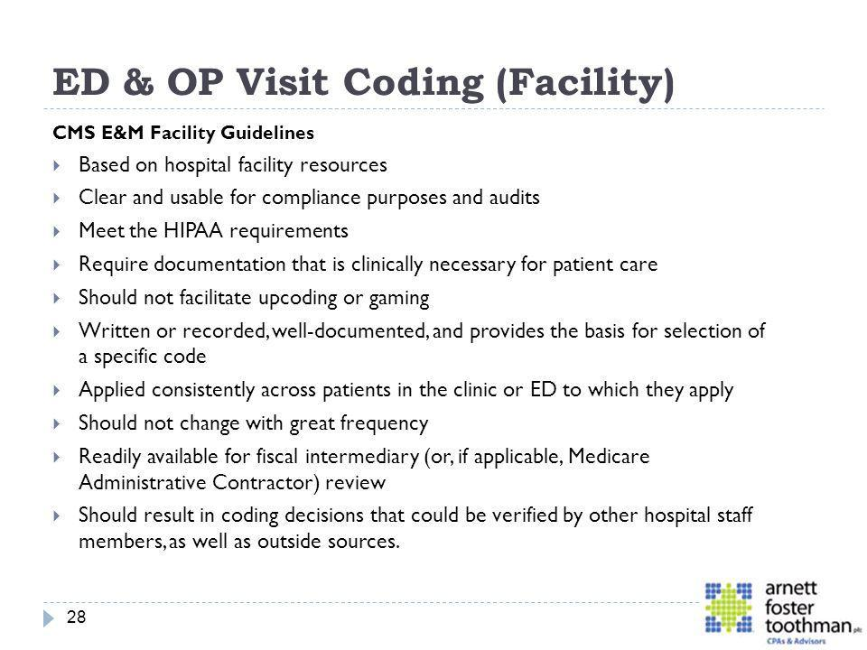 ED & OP Visit Coding (Facility)