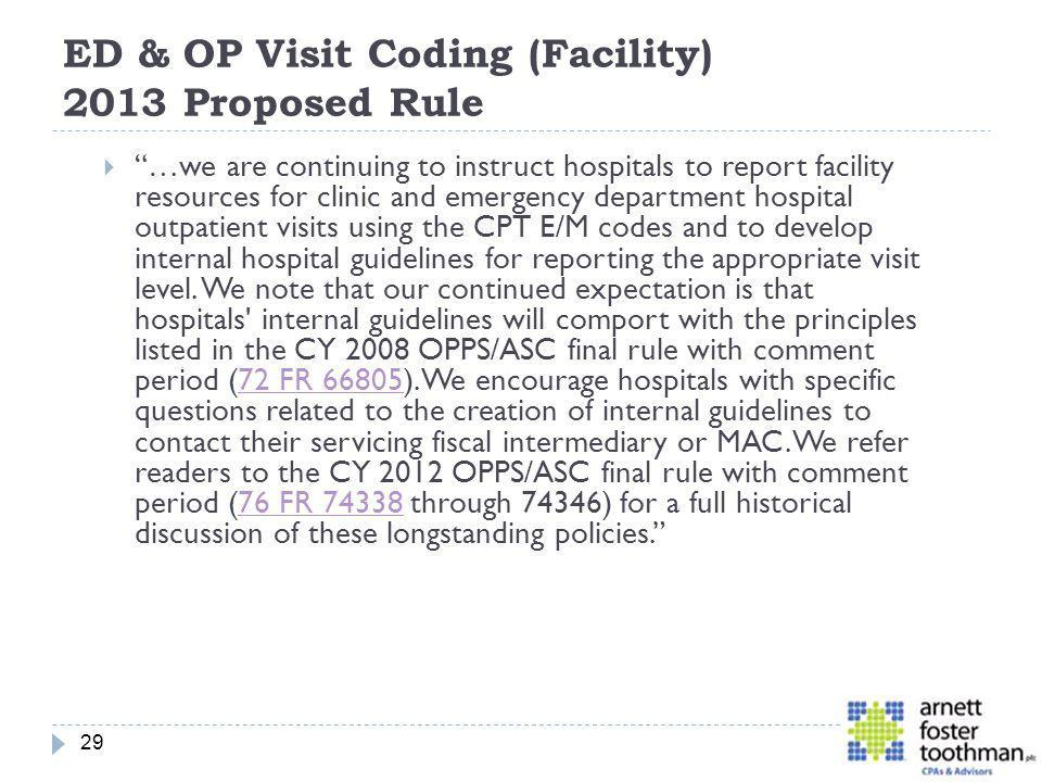 ED & OP Visit Coding (Facility) 2013 Proposed Rule