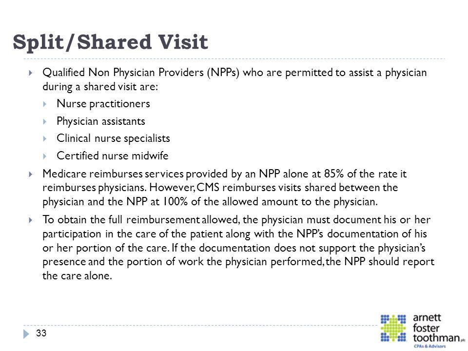 Split/Shared Visit Qualified Non Physician Providers (NPPs) who are permitted to assist a physician during a shared visit are:
