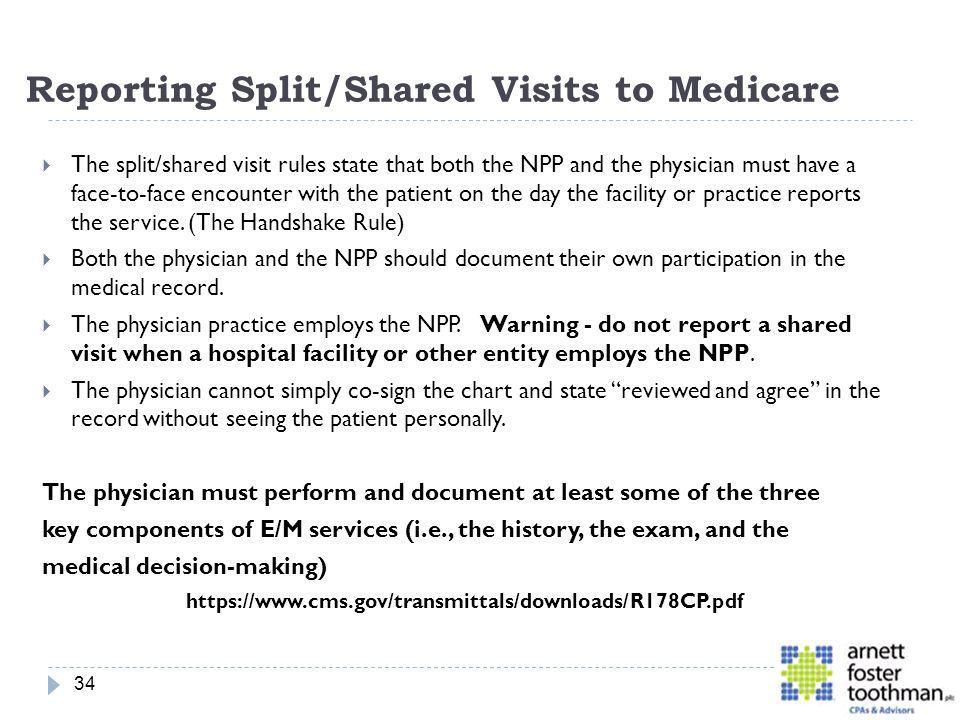 Reporting Split/Shared Visits to Medicare