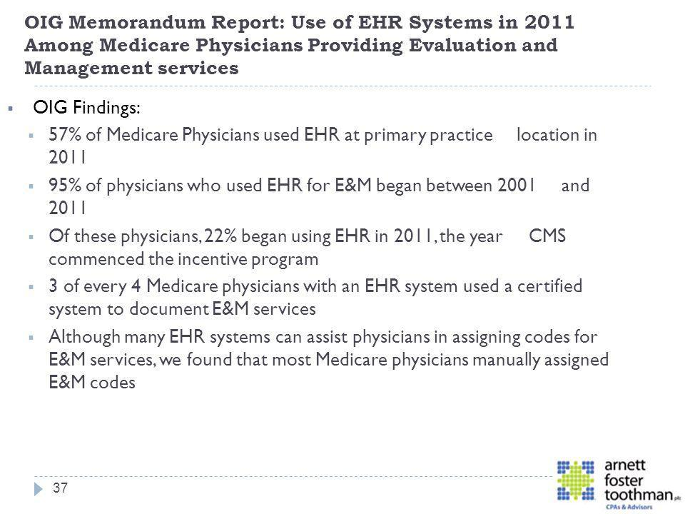 OIG Memorandum Report: Use of EHR Systems in 2011 Among Medicare Physicians Providing Evaluation and Management services