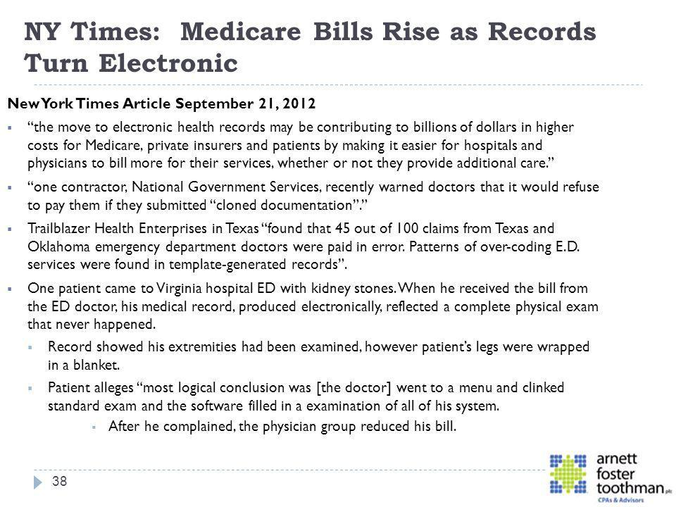 NY Times: Medicare Bills Rise as Records Turn Electronic
