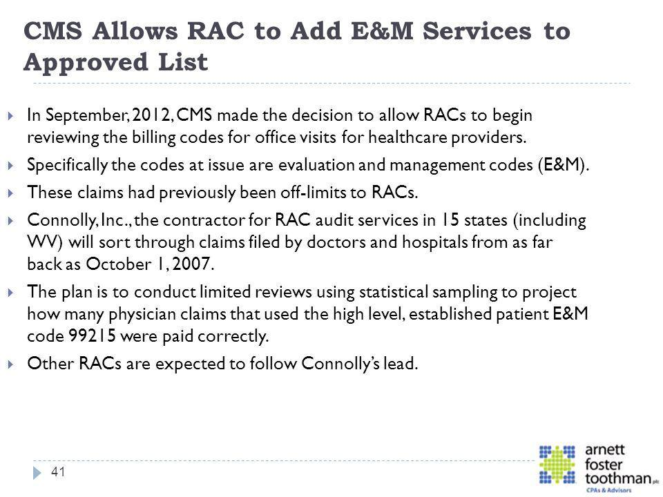 CMS Allows RAC to Add E&M Services to Approved List