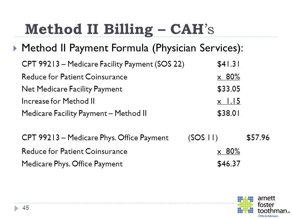 Method II Billing – CAH's