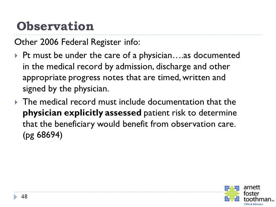Observation Other 2006 Federal Register info: