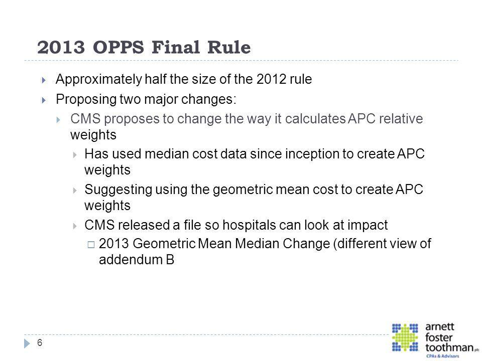 2013 OPPS Final Rule Approximately half the size of the 2012 rule