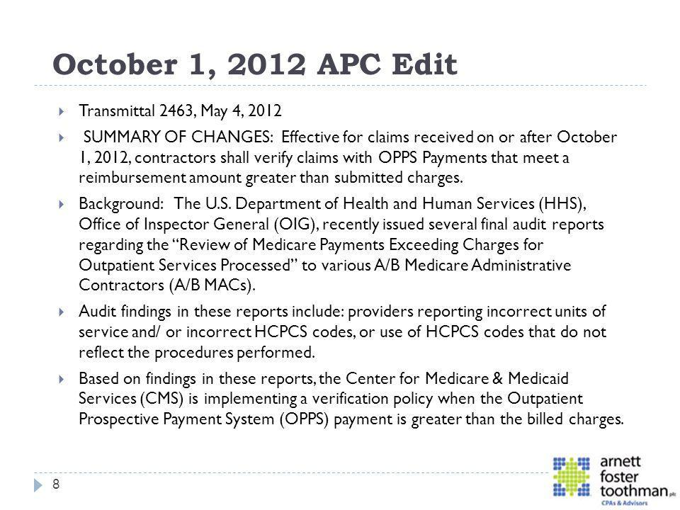 October 1, 2012 APC Edit Transmittal 2463, May 4, 2012