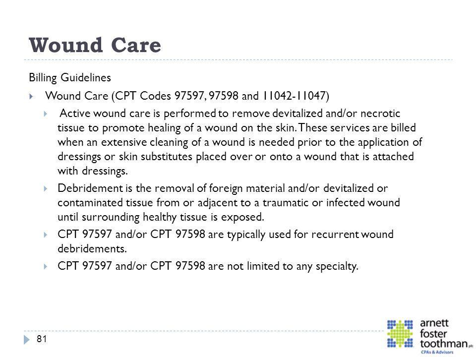 Wound Care Billing Guidelines