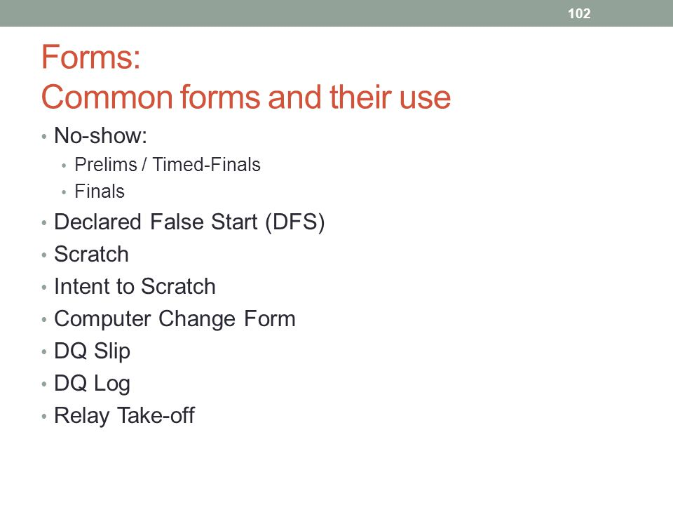 Forms: Common forms and their use