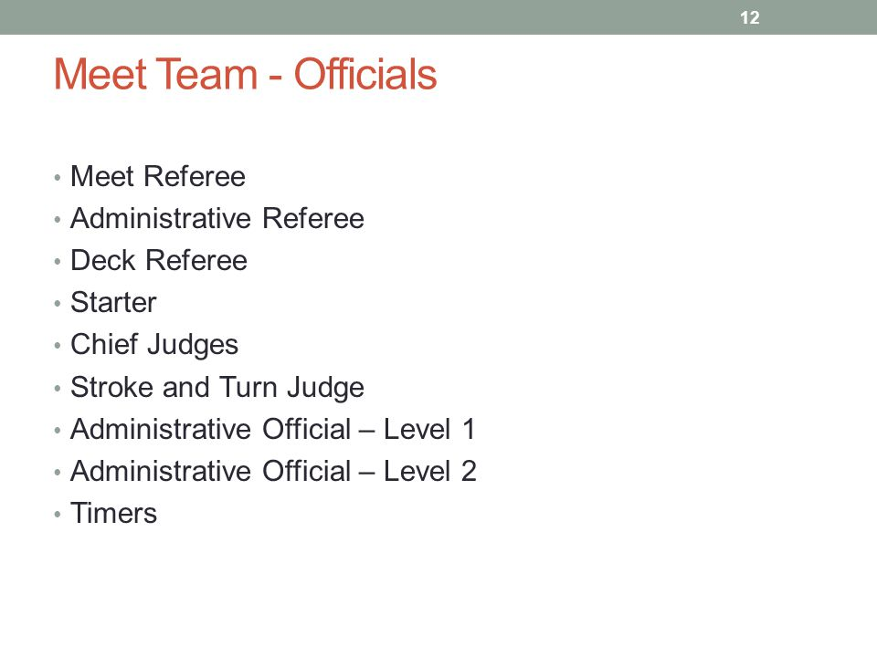 Meet Team - Officials Meet Referee Administrative Referee Deck Referee