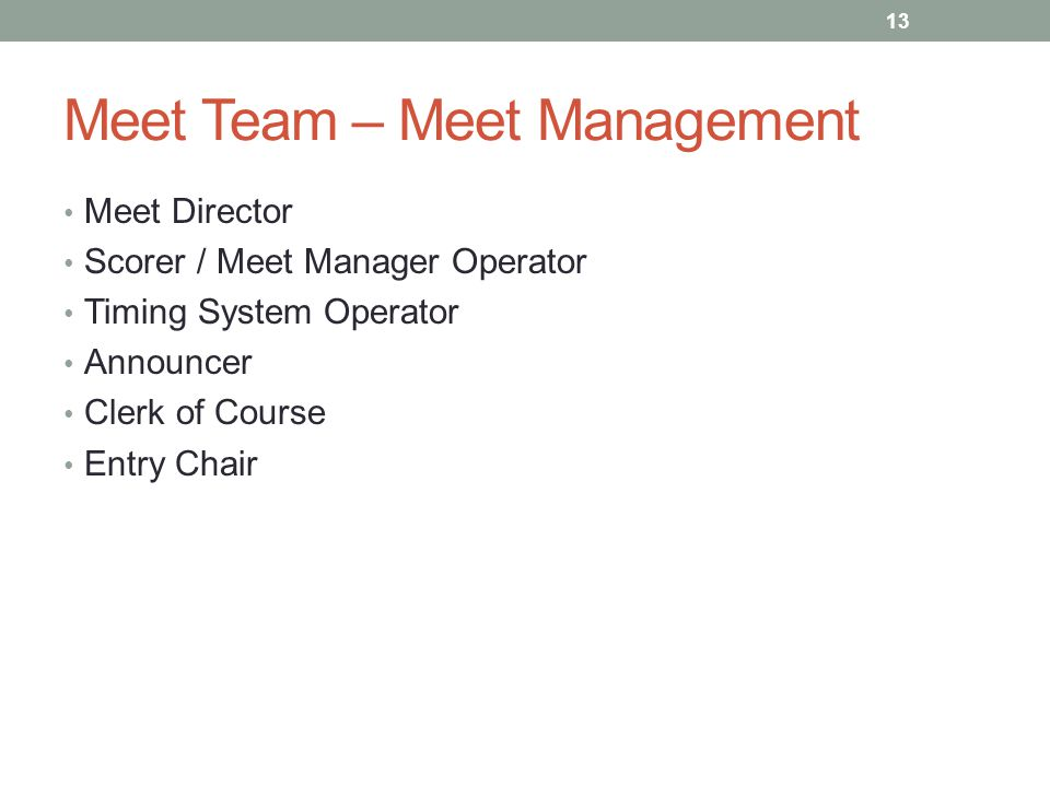 Meet Team – Meet Management