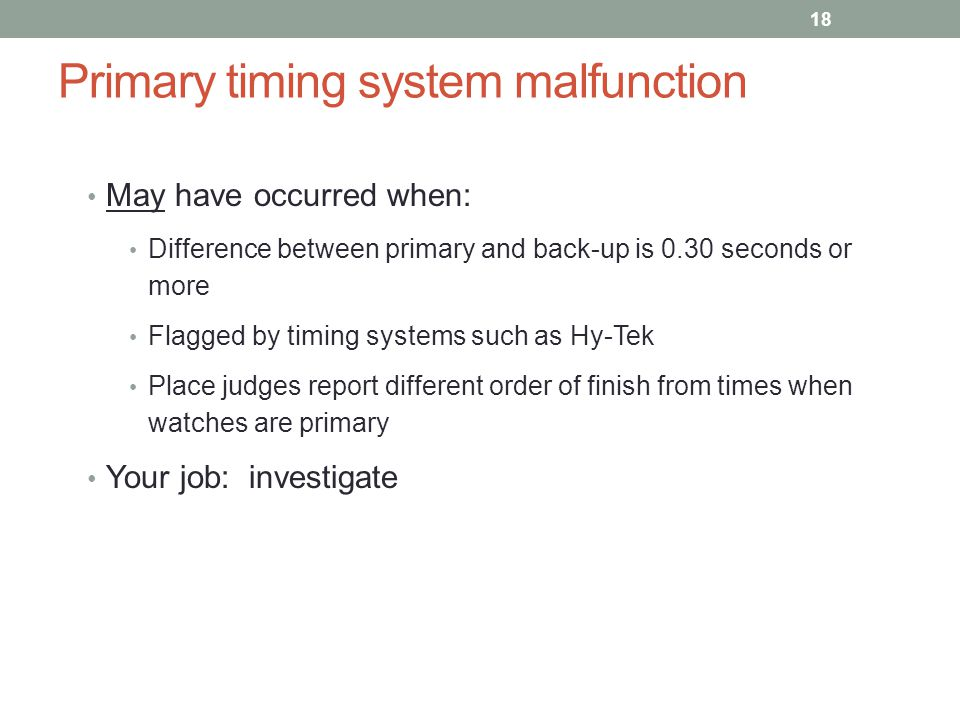 Primary timing system malfunction