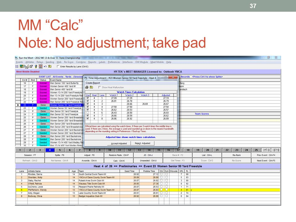 MM Calc Note: No adjustment; take pad