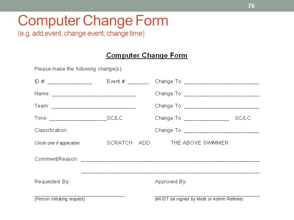 Computer Change Form (e.g. add event, change event, change time)