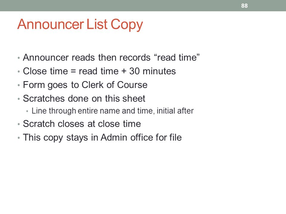 Announcer List Copy Announcer reads then records read time