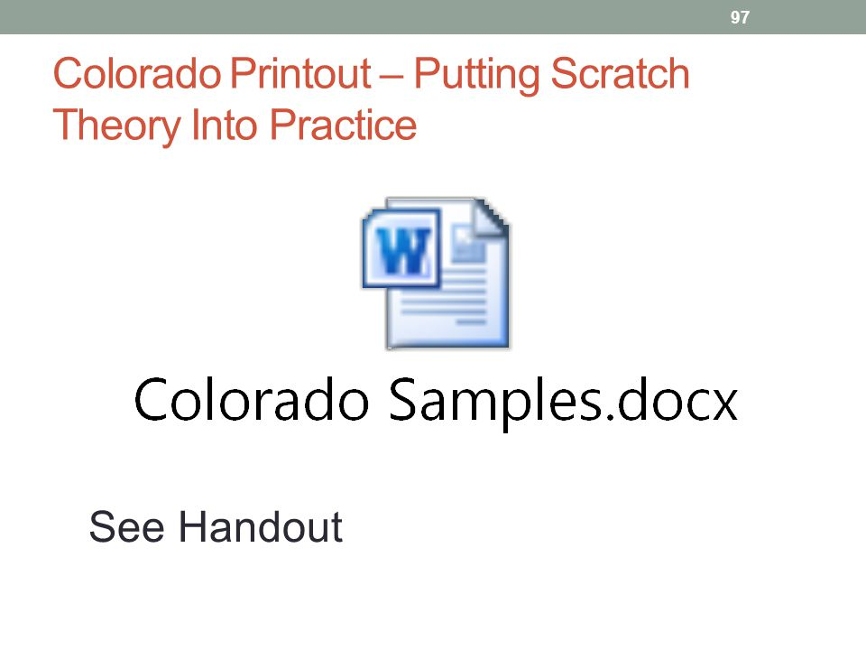 Colorado Printout – Putting Scratch Theory Into Practice