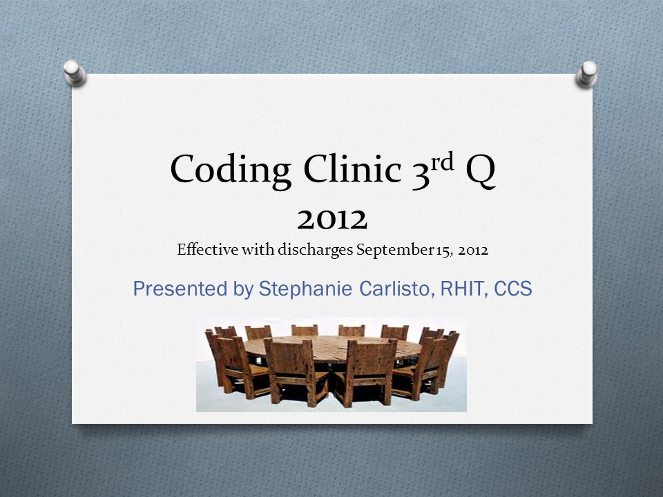 Coding Clinic 3rd Q 2012 Effective with discharges September 15, 2012