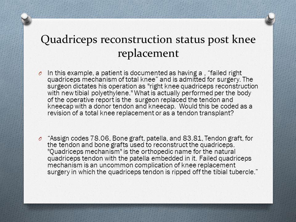 Quadriceps reconstruction status post knee replacement
