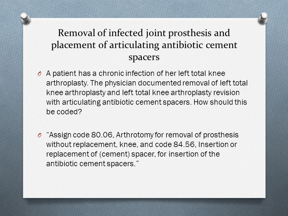 Removal of infected joint prosthesis and placement of articulating antibiotic cement spacers