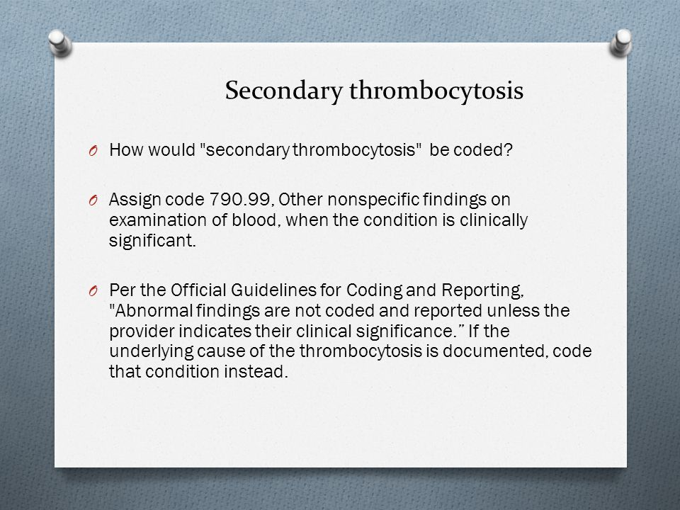 Secondary thrombocytosis