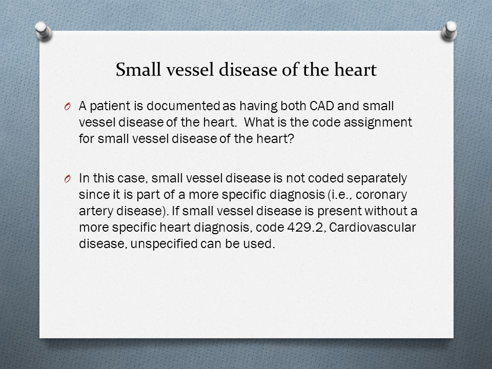 Small vessel disease of the heart