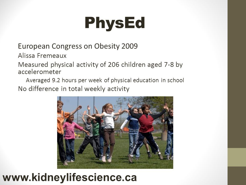 PhysEd www.kidneylifescience.ca European Congress on Obesity 2009