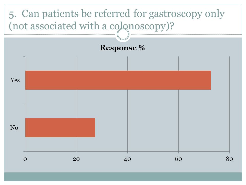 5. Can patients be referred for gastroscopy only (not associated with a colonoscopy)
