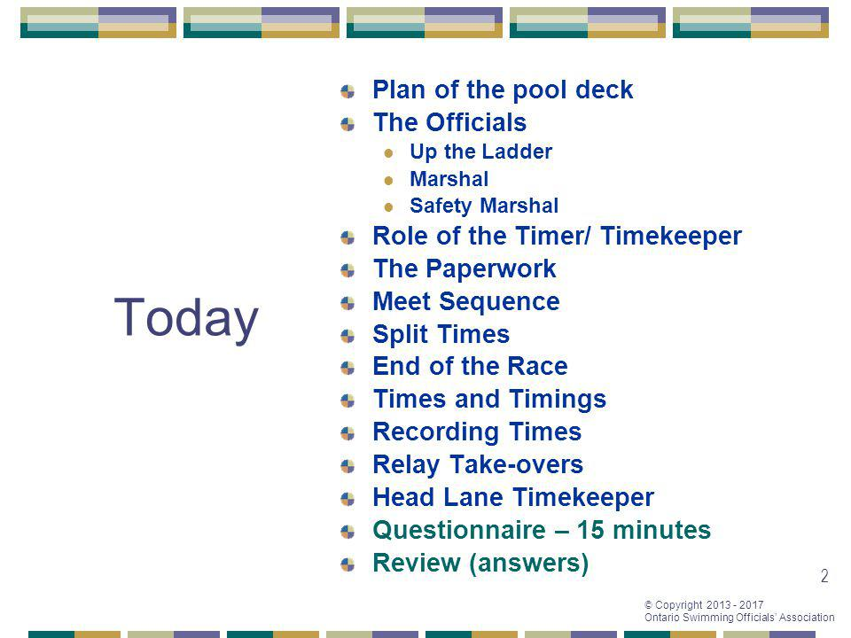 Today Plan of the pool deck The Officials