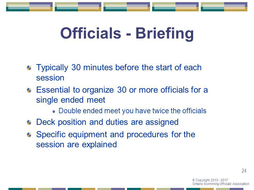 Officials - Briefing Typically 30 minutes before the start of each session. Essential to organize 30 or more officials for a single ended meet.