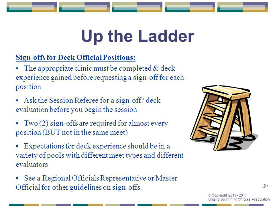 Up the Ladder Sign-offs for Deck Official Positions: