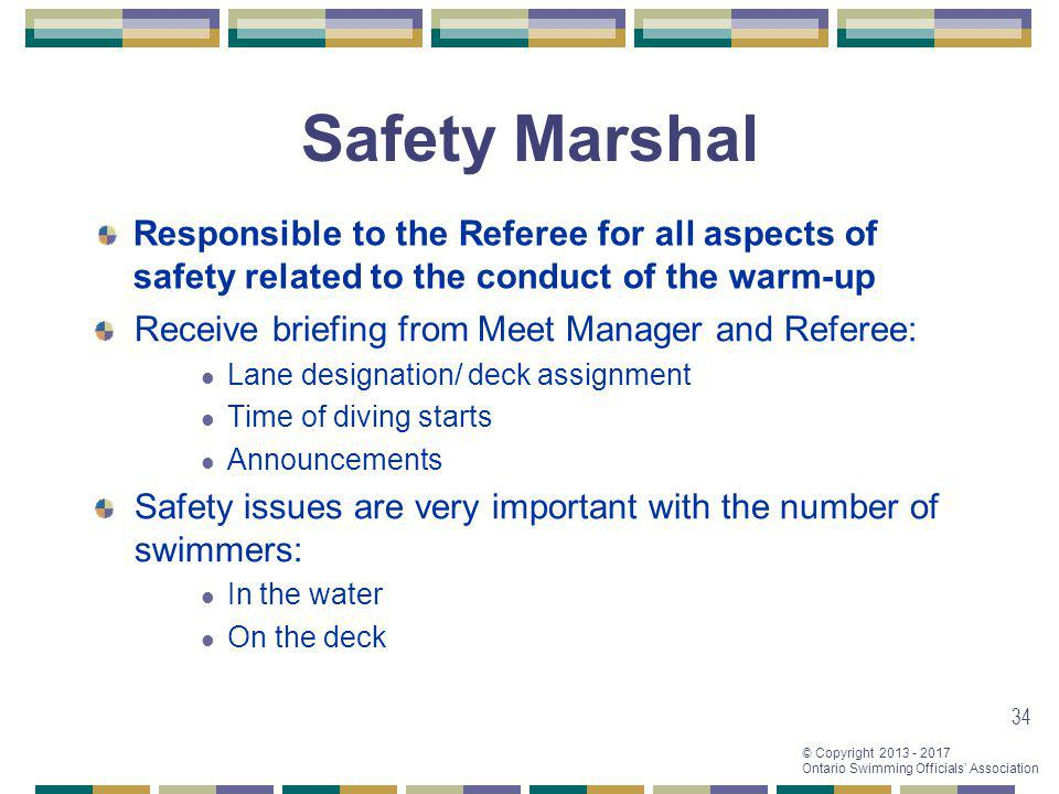 Safety Marshal Responsible to the Referee for all aspects of safety related to the conduct of the warm-up.