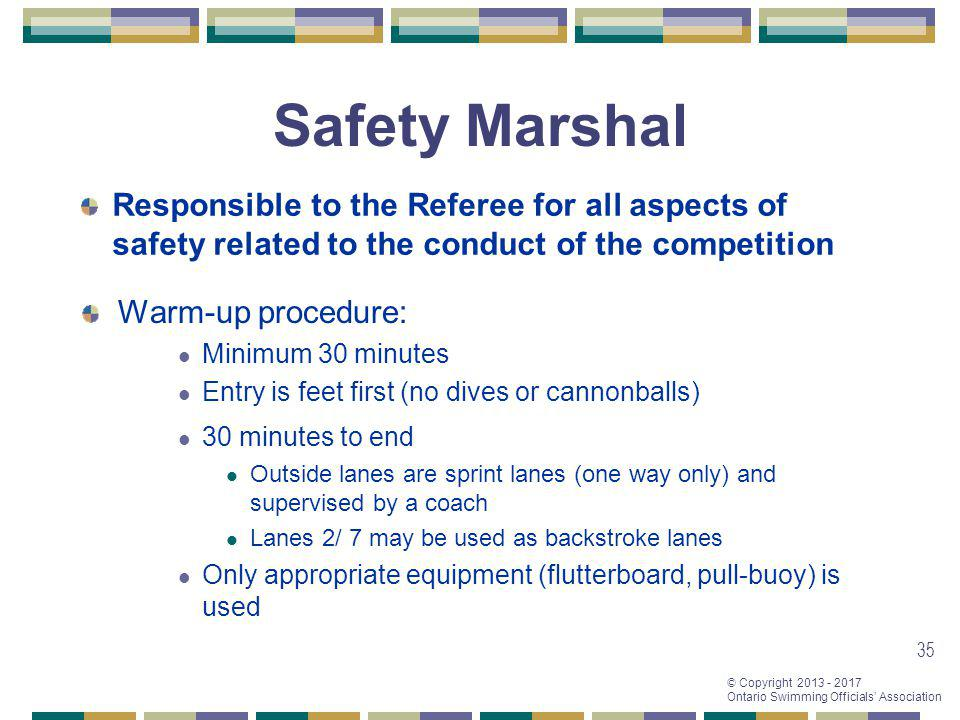 Safety Marshal Responsible to the Referee for all aspects of safety related to the conduct of the competition.