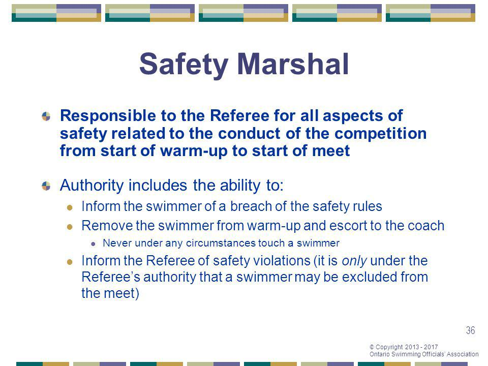 Safety Marshal Responsible to the Referee for all aspects of safety related to the conduct of the competition from start of warm-up to start of meet.