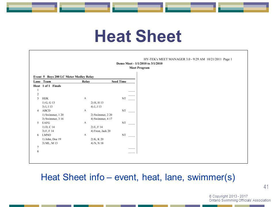 Heat Sheet Heat Sheet info – event, heat, lane, swimmer(s)