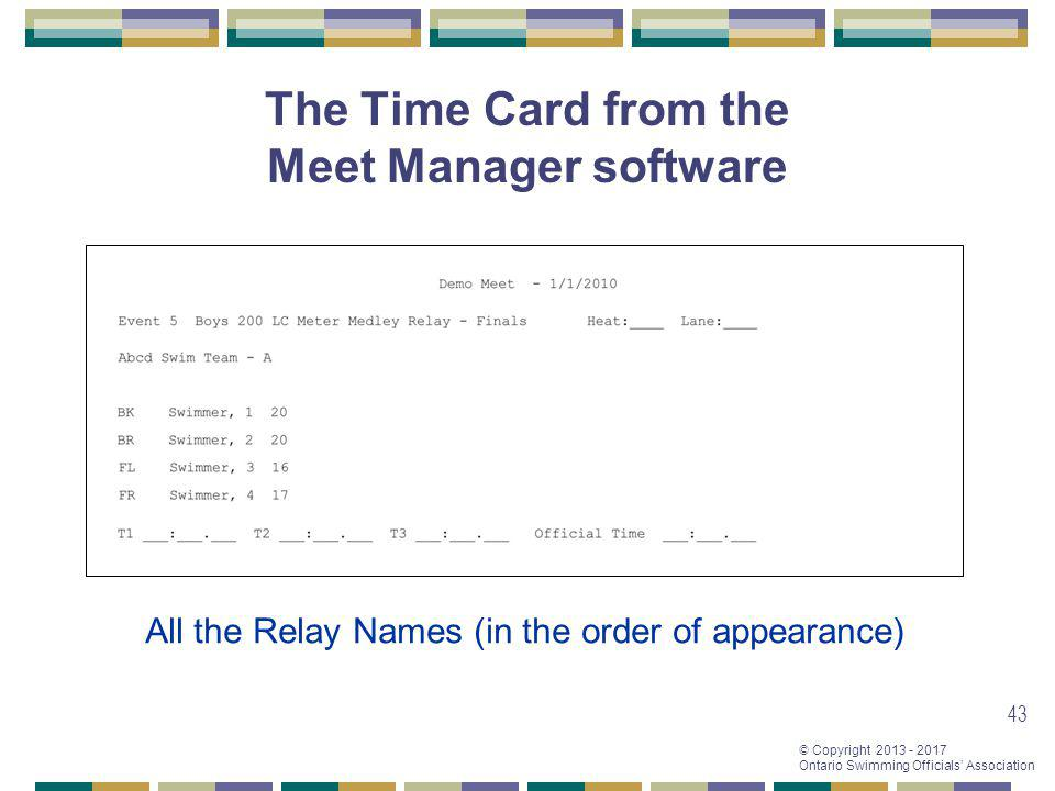The Time Card from the Meet Manager software