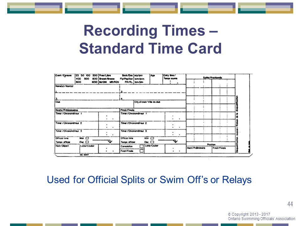 Recording Times – Standard Time Card