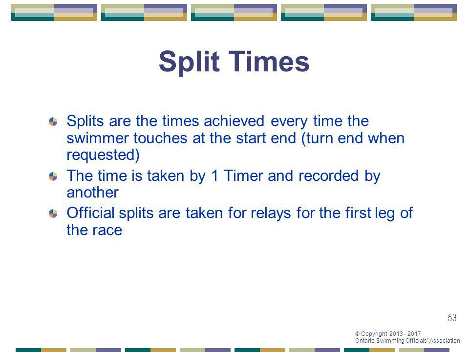 Split Times Splits are the times achieved every time the swimmer touches at the start end (turn end when requested)