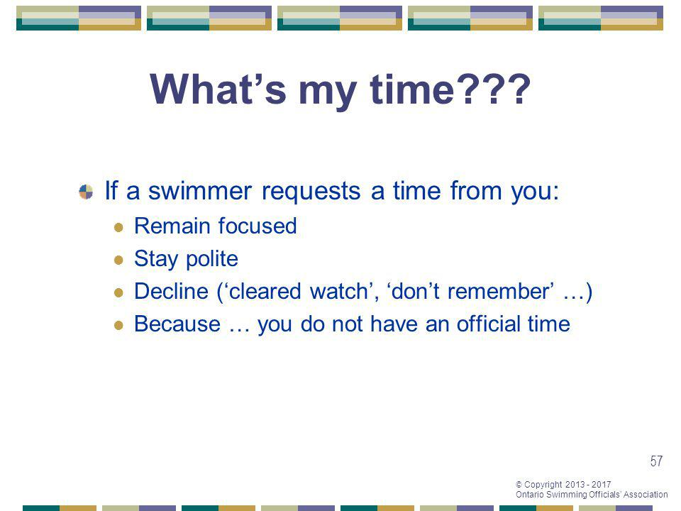 What's my time If a swimmer requests a time from you: