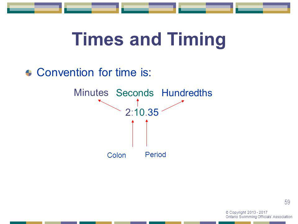 Times and Timing Convention for time is: Minutes Seconds Hundredths