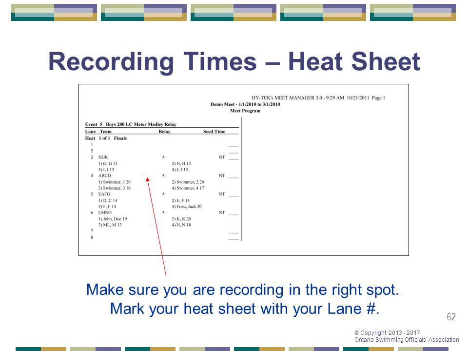 Recording Times – Heat Sheet